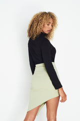 Sage Green Asymmetric Wrap Mini Skirt