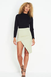 Sage Green Asymmetric Wrap Mini-rok