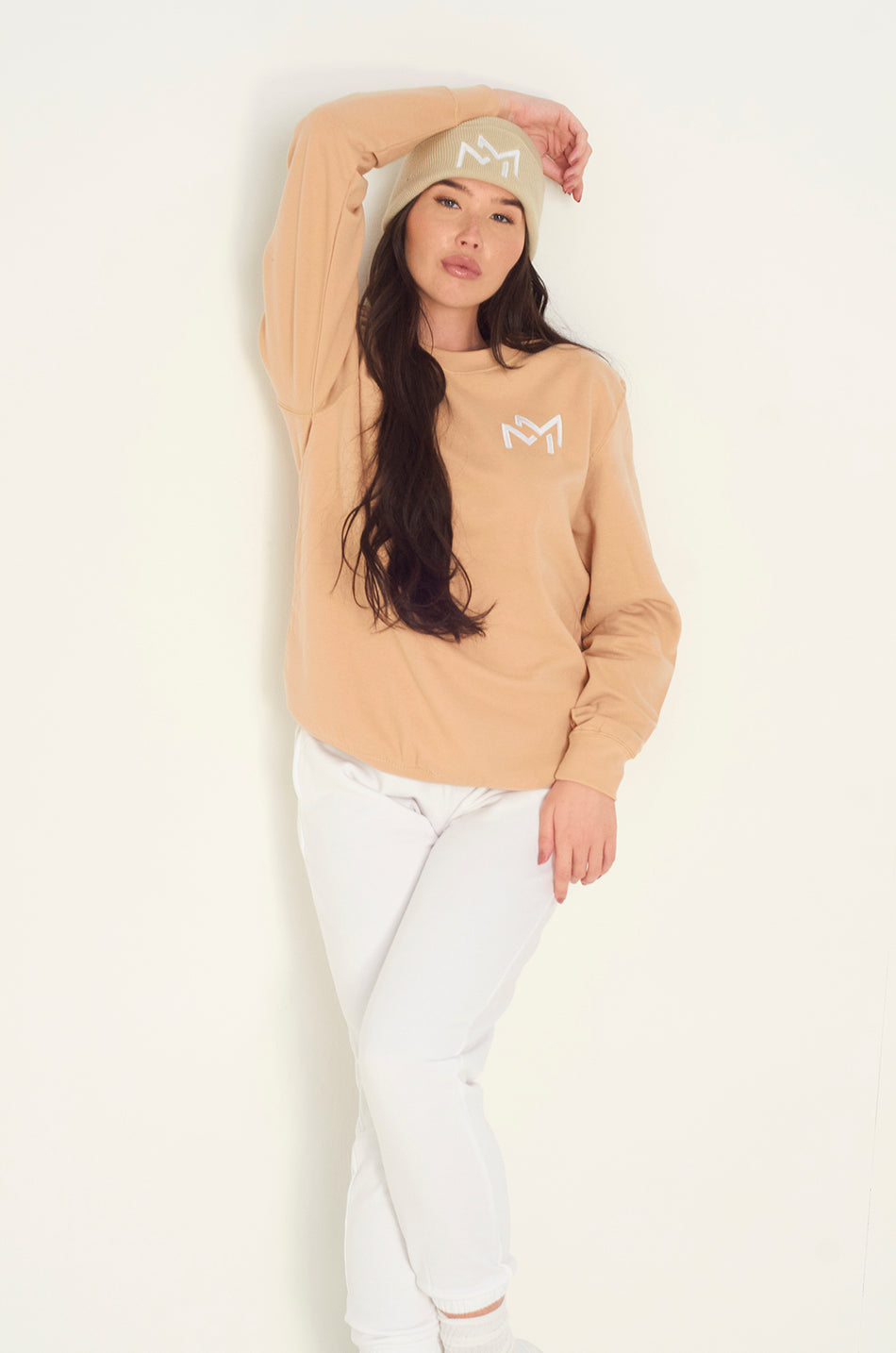 Sand Oversized MM logo sweatshirt