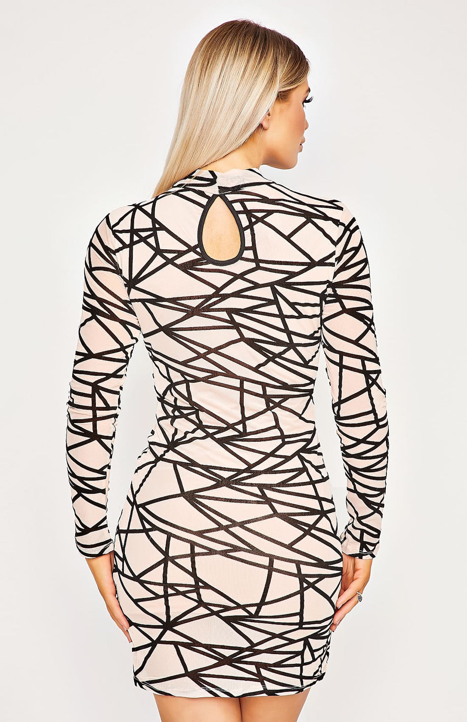 Abstract Print Long Sleeved Mesh Bodycon Dress