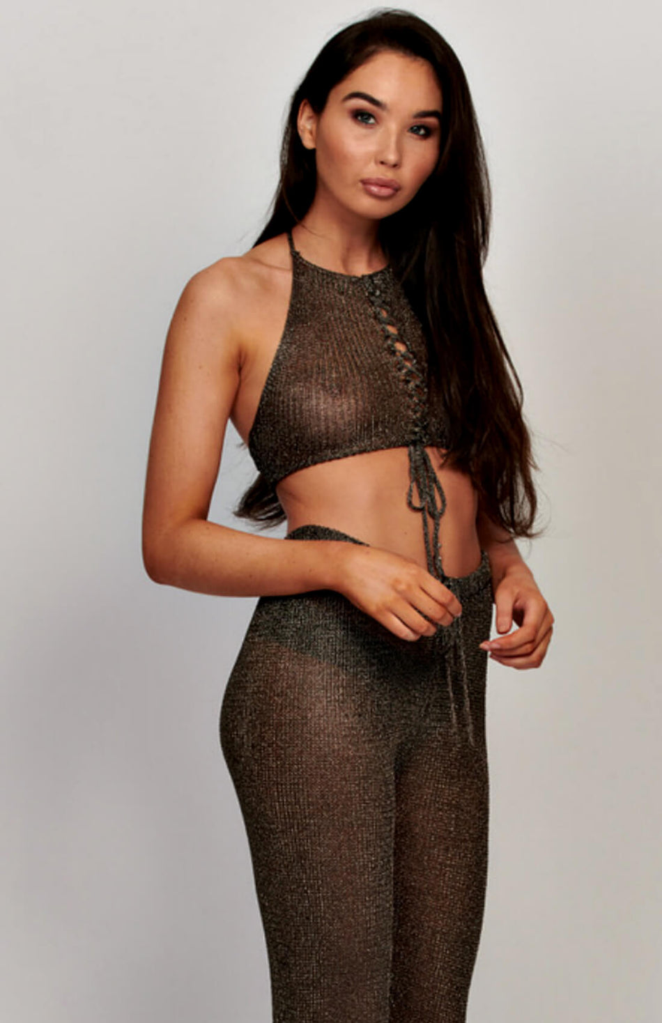 Bronze Metallic Sheer Halter Neck Crop Top And Pants Set
