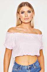 Crop top rose à volants Bardot rose