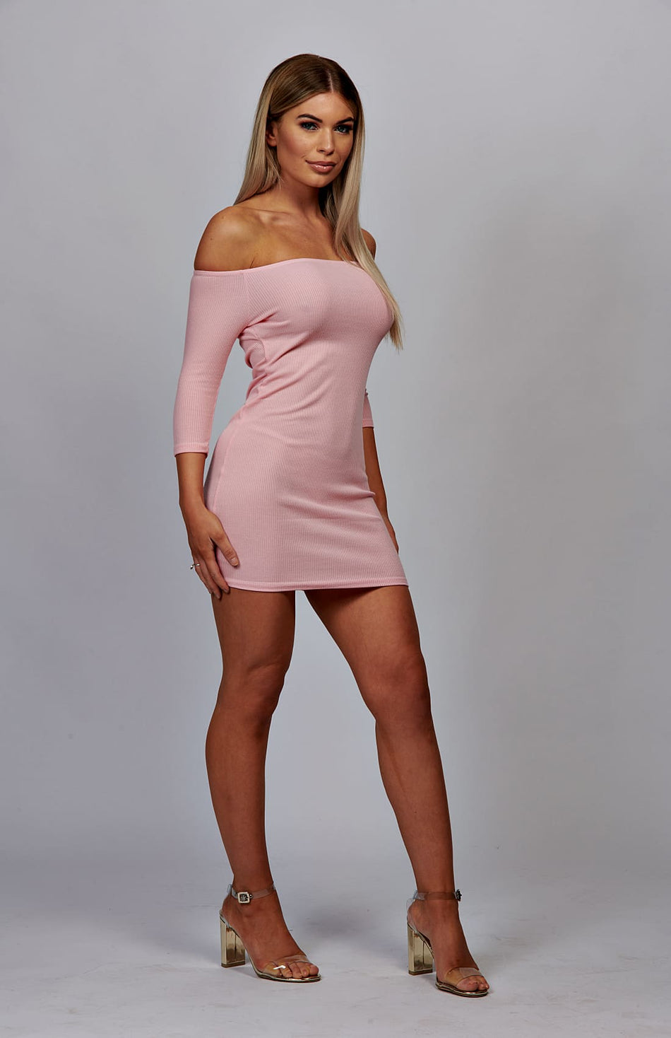 Baby Pink Bardot Rib Bodycon Dress