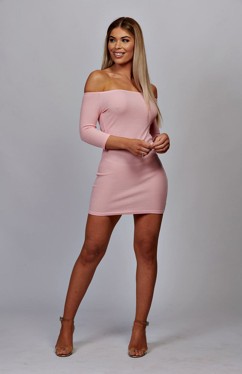 Baby Pink Bardot Rib Knit Bodycon Dress