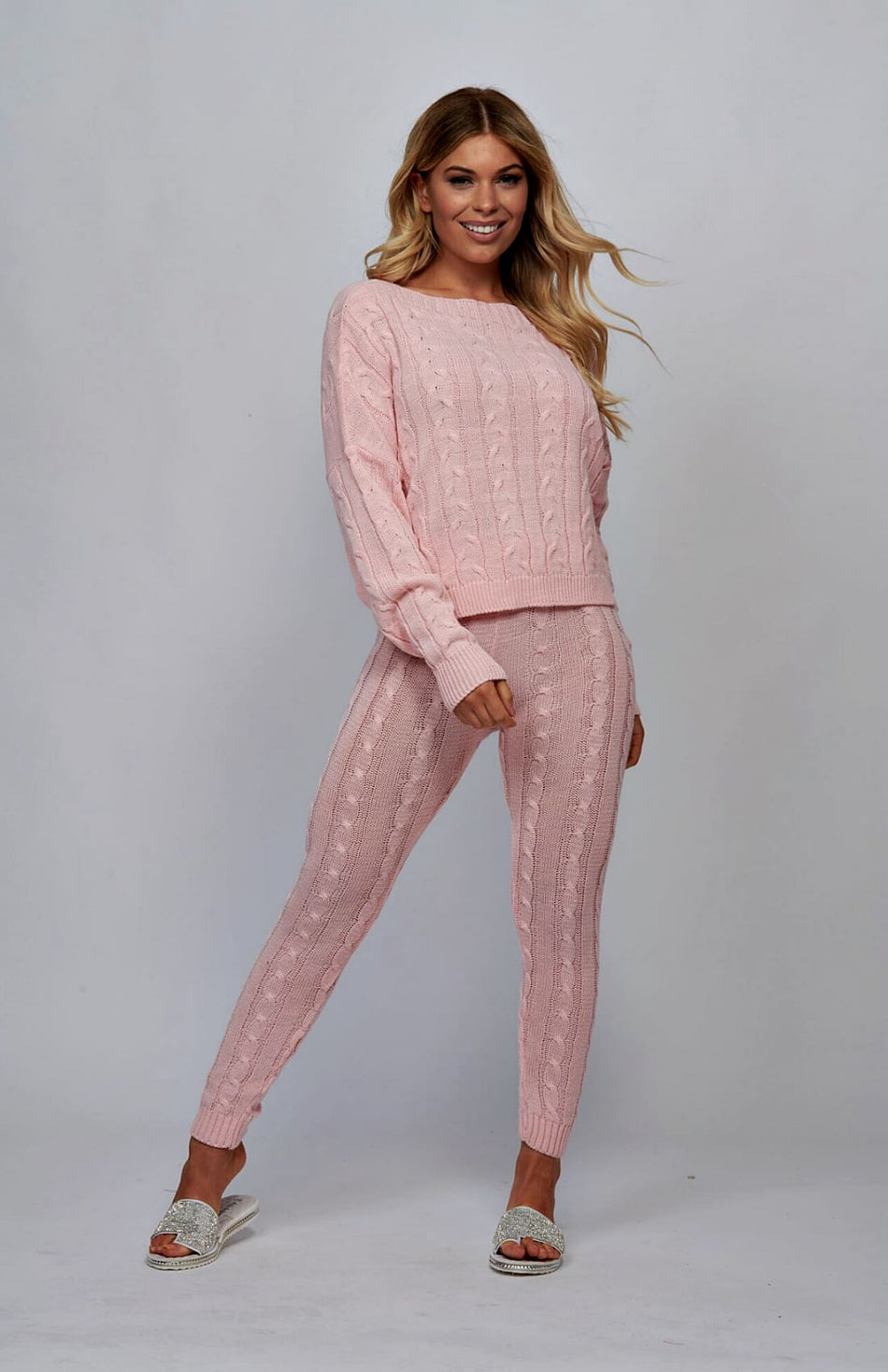Baby Pink Cable Knit Loungewear Set