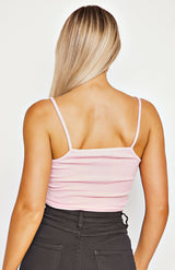 Baby Pink Rib Knit Cami Crop Top