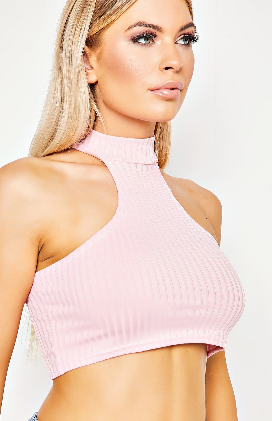 Baby Pink Rib Knit Cut Away Front Crop Top