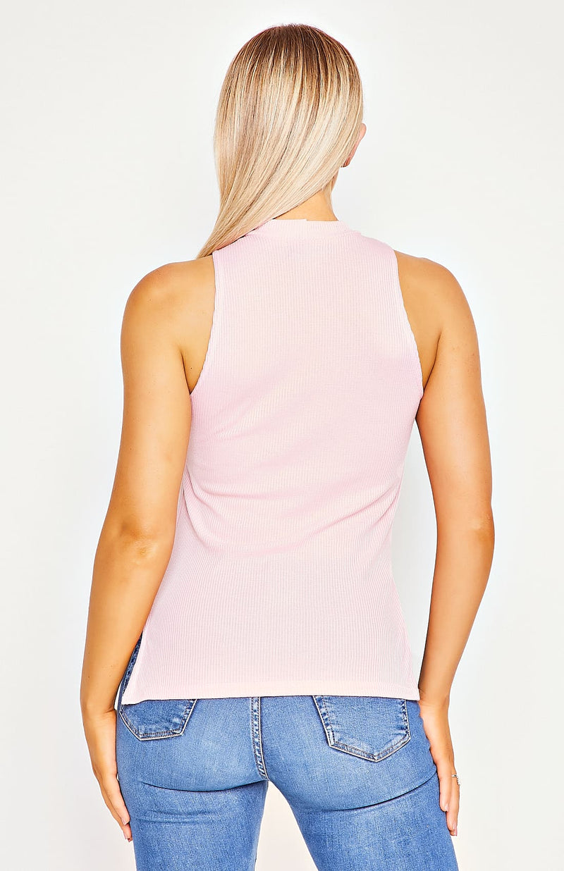 Baby Pink Rib Knit High Neck Top