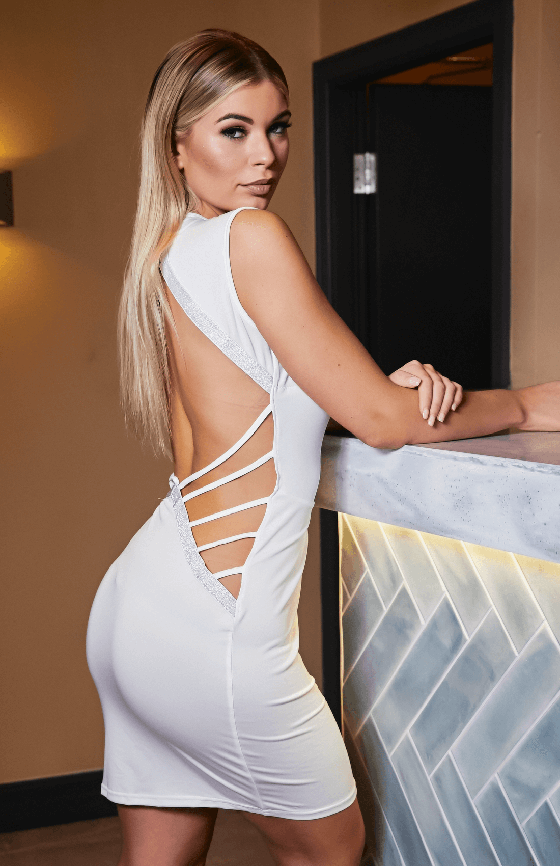 White Deep V Open Back Bodycon Dress