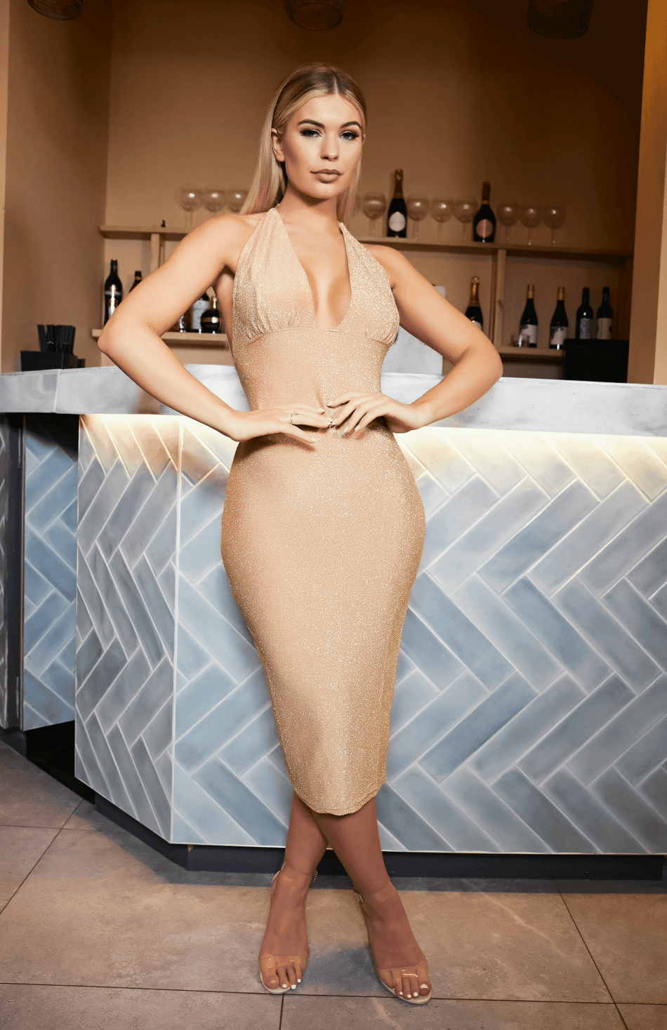 Gold Backless Strap Deep V Neck Spaghetti Strap Midi Dress
