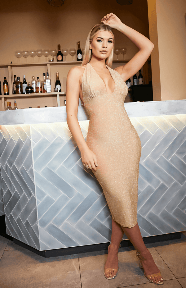 Gold Backless Strap Deep V Neck Spaghetti Midi Dress
