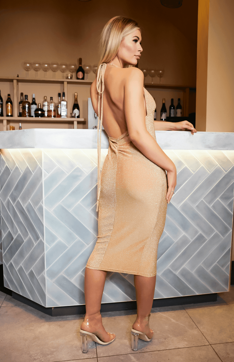 Gold Backless Deep V Neck Spaghetti Strap Midi Dress