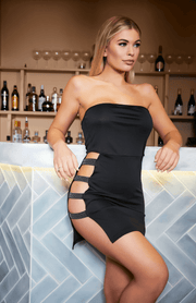 Black Studded Ladder Cut Out Tube Sexy Bodycon Dress