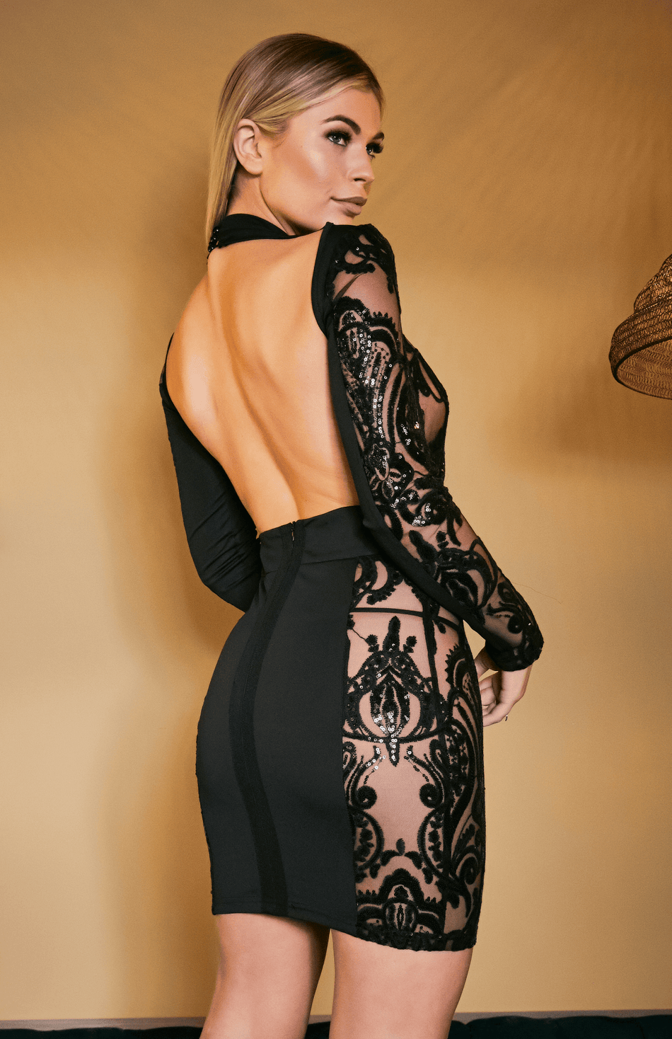 Black Long Sleeve Lace Sequin Open Back Bodycon Dress