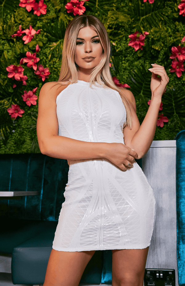 White Lace Halter Detail Mini Dress