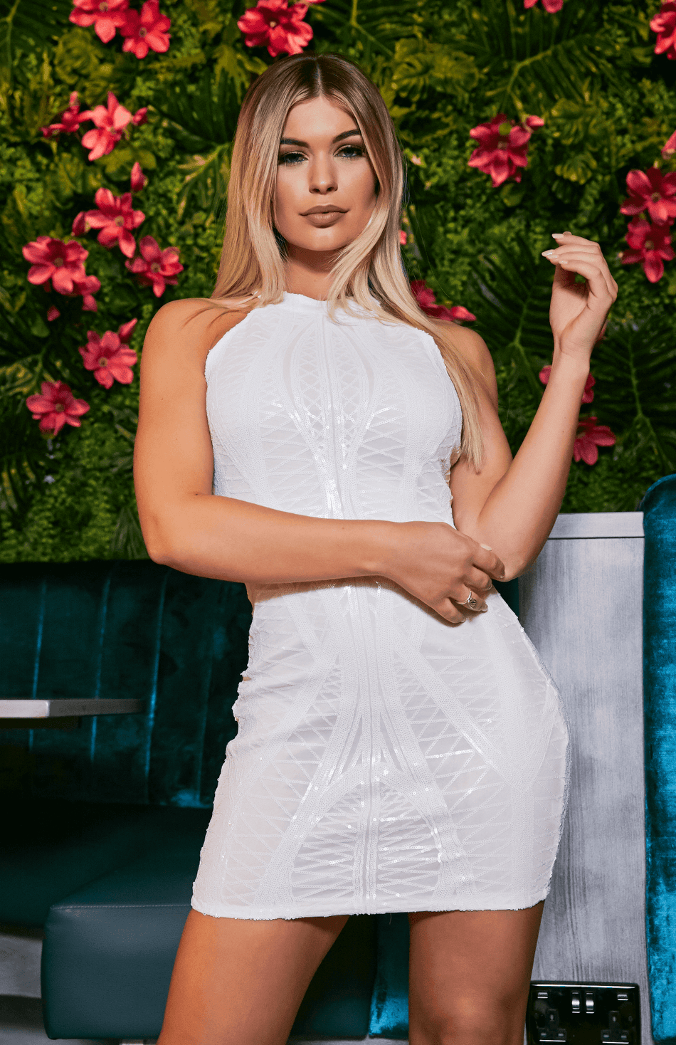 White Lace Halter Lace Detail Mini Dress