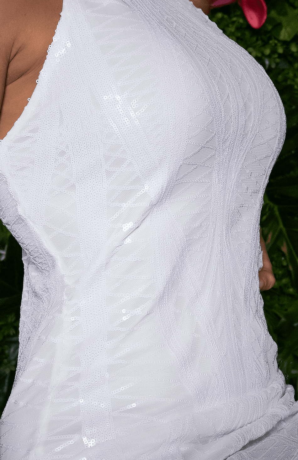 White Lace Neckholder Lace Detail Minikleid