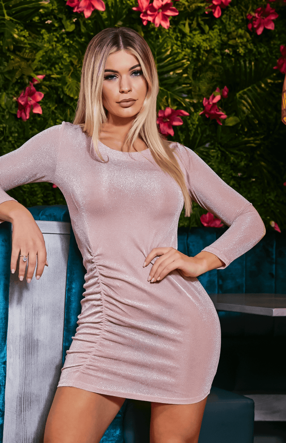 Glitter Scrunched Long Sleeve Pink Party Dress