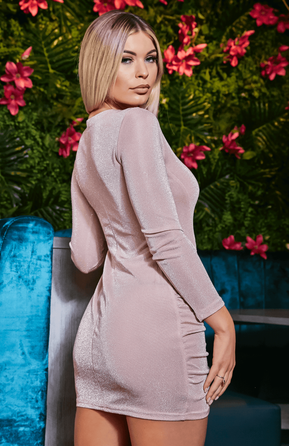 Glitter Ruched Long Sleeve Pink Party Dress