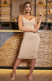 Deep V Neck Criss Cross Nude Midi Slip Dress