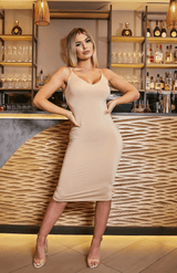 Deep V Neck Criss Cross Slip Nude Midi Dress