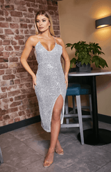 Silver Spaghetti Strap Sequin Slit Bodycon Midi Dress