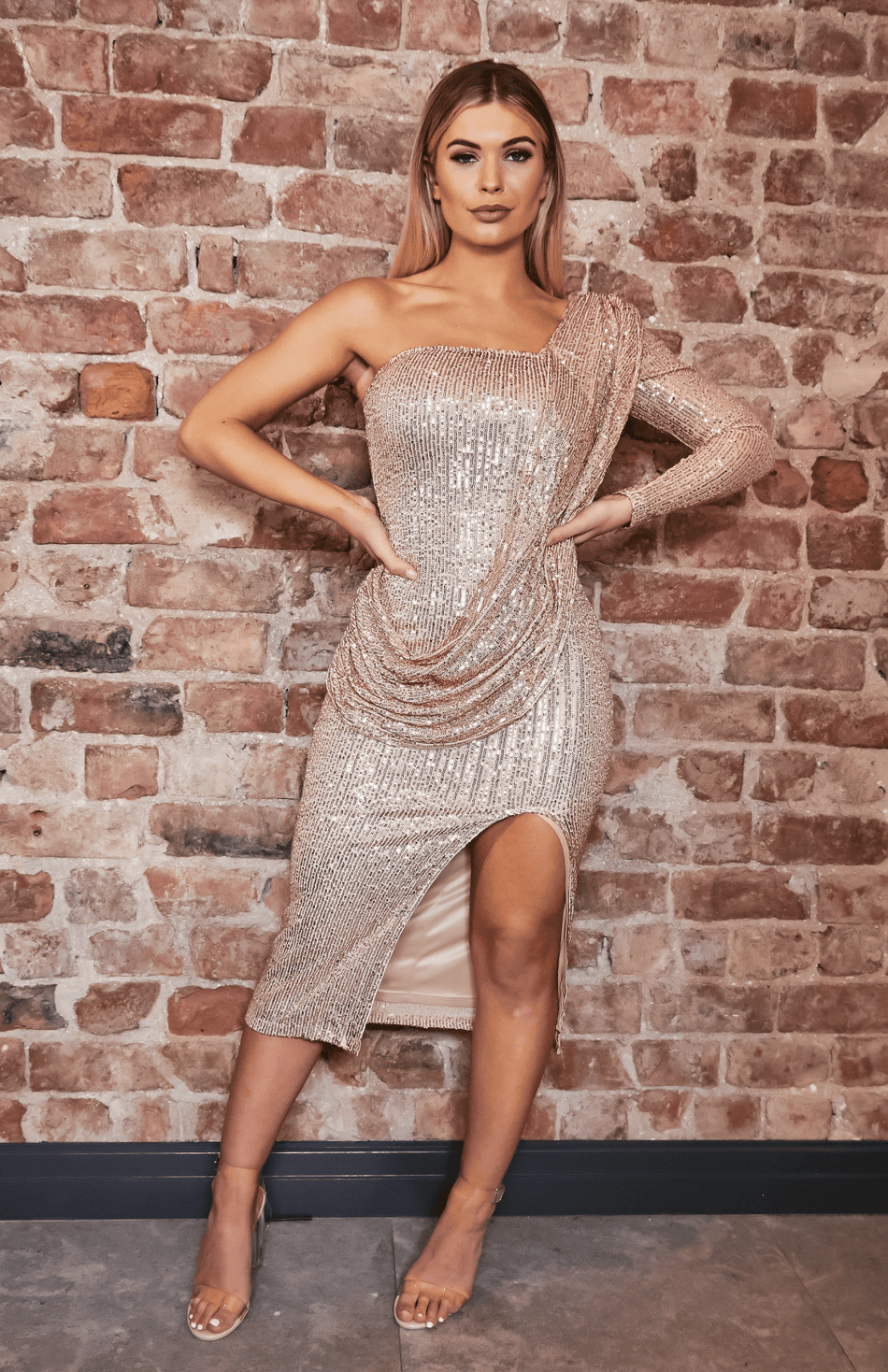 Gold One Shoulder Drape Design Slit Sequin Midi Dress