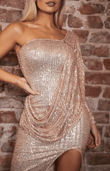 One Shoulder drapieren Design Slit Sequin Midi-Kleid