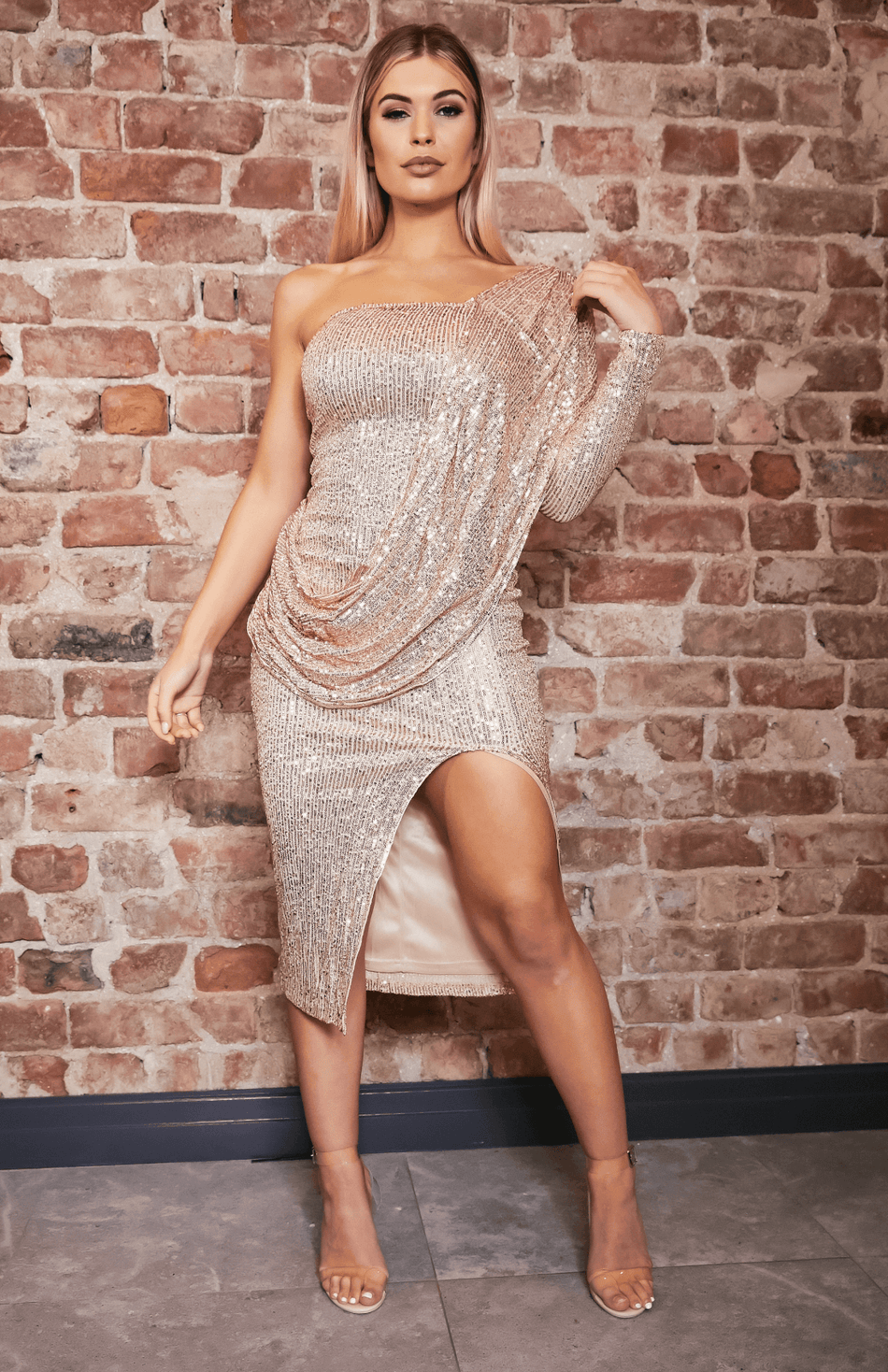 Um ombro Drape Design Slit Sequin Midi Dress