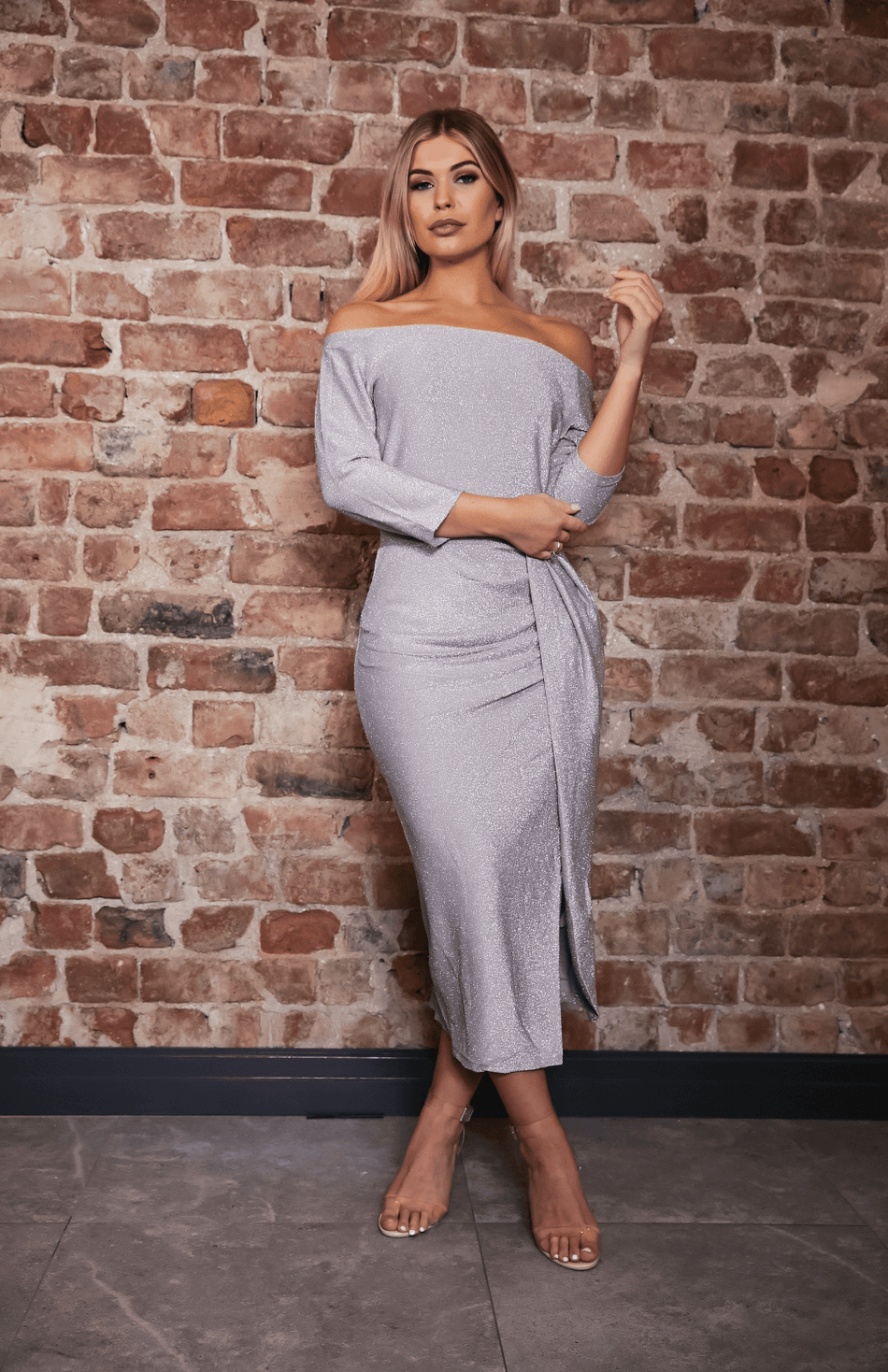 Silver Glitter Bardot Thigh Slit Midi Dress