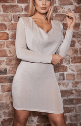 Apricot Glitter Cowl Neck Long Sleeve Bodycon Dress