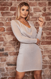 Apricot Glitter Cowl Neck manga comprida Bodycon Dress