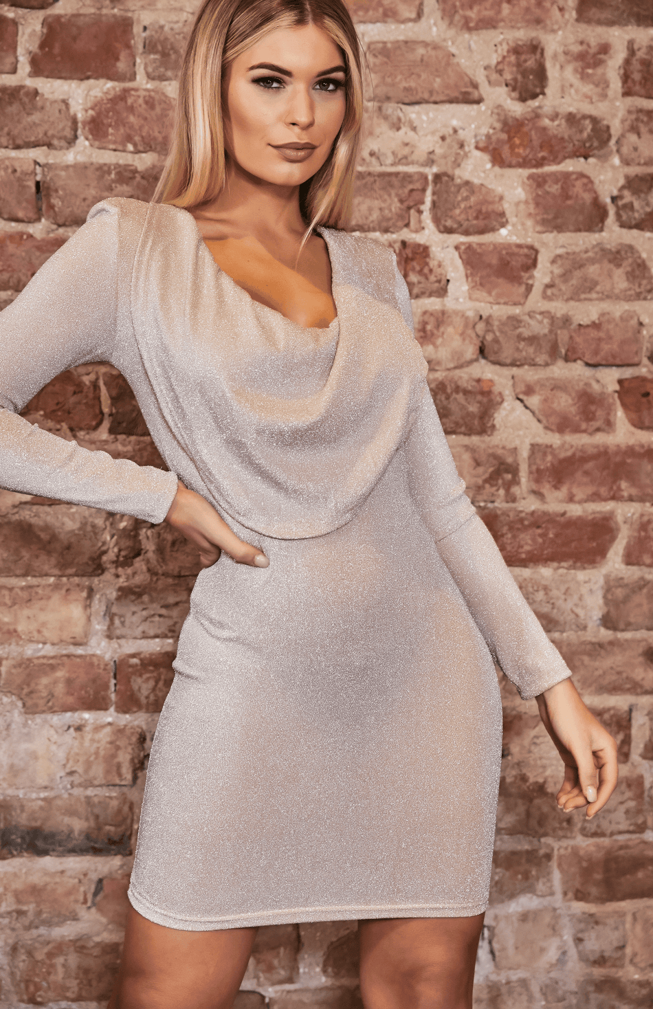 Nude Glitter Cowl Neck Long Sleeve Bodycon Dress