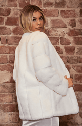 White Fluffy Faux Fur Jacket