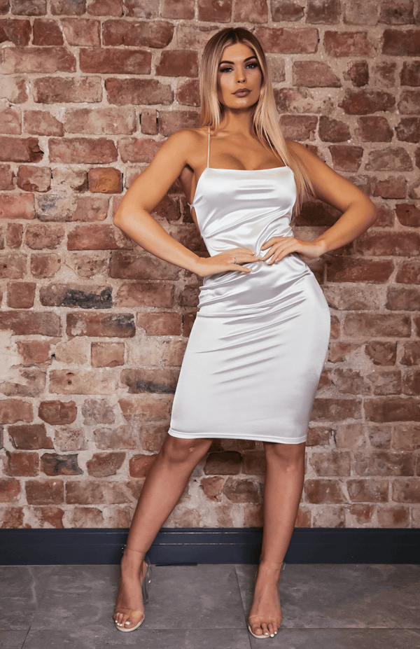White Square Neck Crisscross Strap Backless Midi Dress
