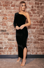 Velvet Black One Shoulder Long Sleeve Bodycon Maxi Dress