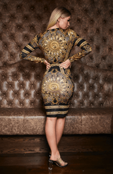 Black & Gold Retro Print Twist Front Manga comprida Midi Dress