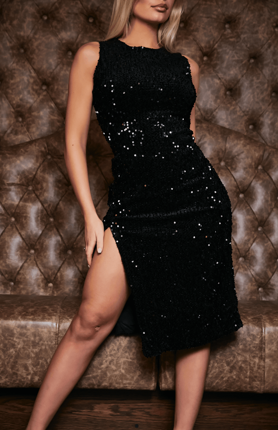 Black Round Neck Side Slit Sequin Midi Dress