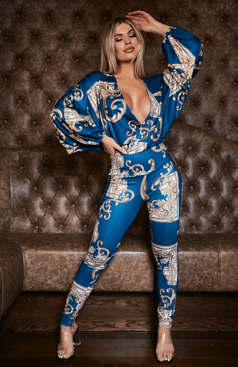 Blue And Gold Print Lantern Sleeve Deep V Jumpsuit