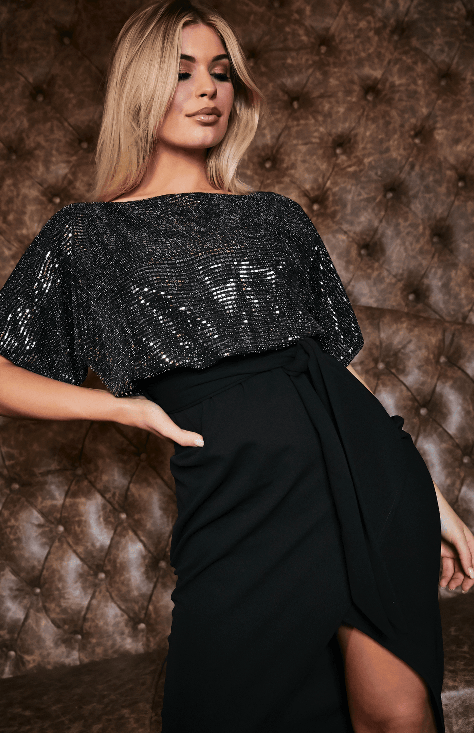 Black & Silver Metallic Sequin Batwing Dress