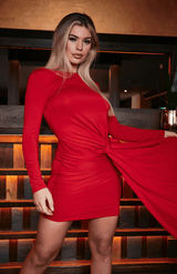 Red Open Back Drape Effect Bodycon Dress