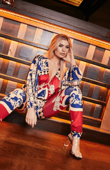 Red And Blue Exotic Print Deep V Neck Long Sleeve Jumpsuit