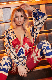 Red / Blue Exotic Print Deep V Neck Long Sleeve Jumpsuit