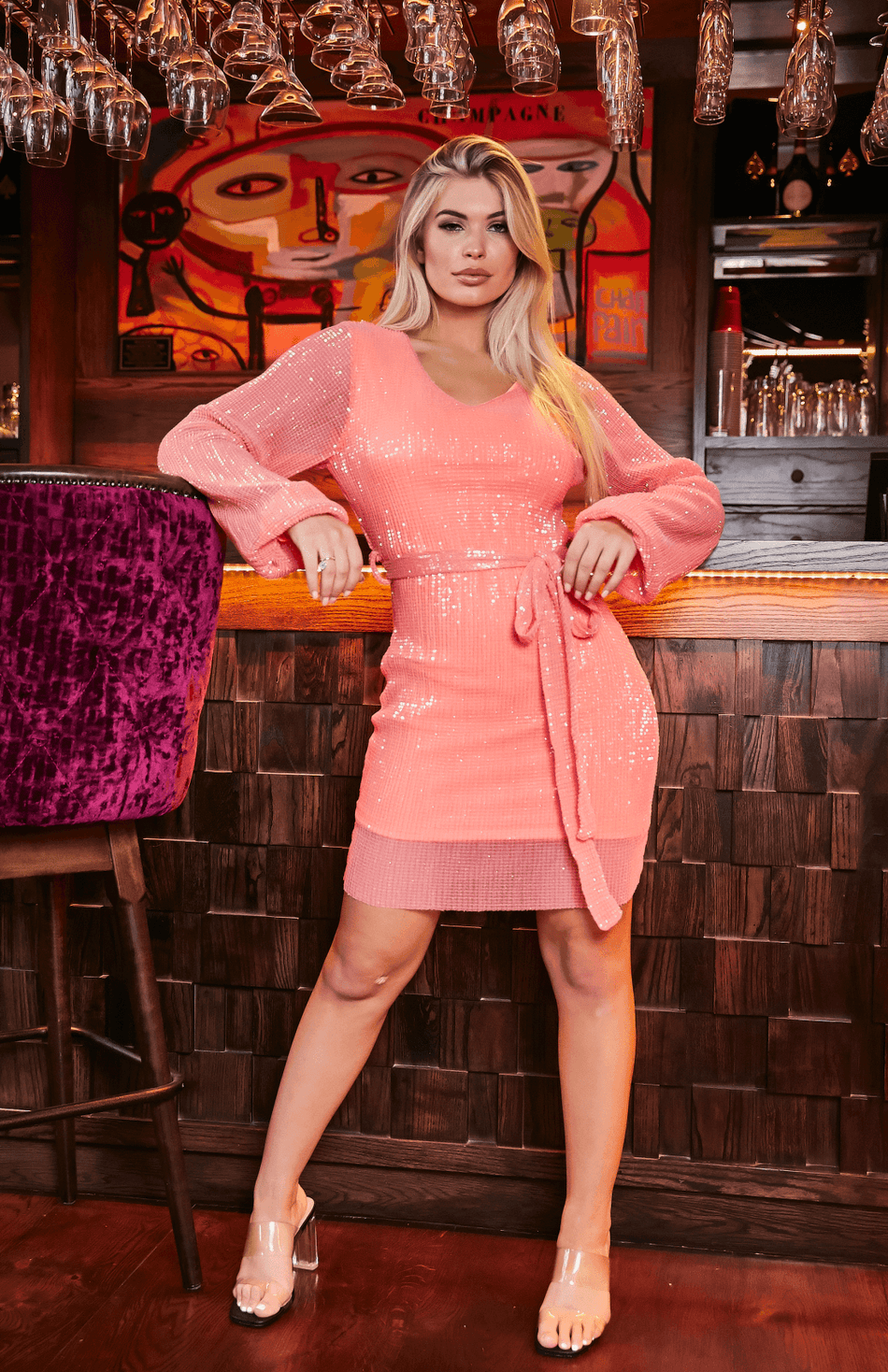 Coral Sequin Long Sleeve Tied Waist Mini Dress