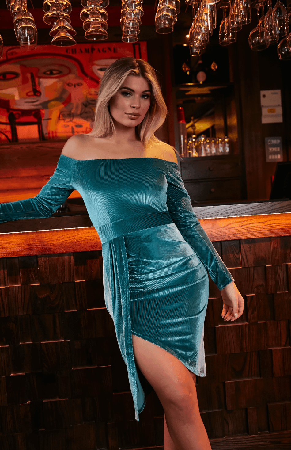 Green Off Shoulder Ribbed Ruched Slit Midi Dress