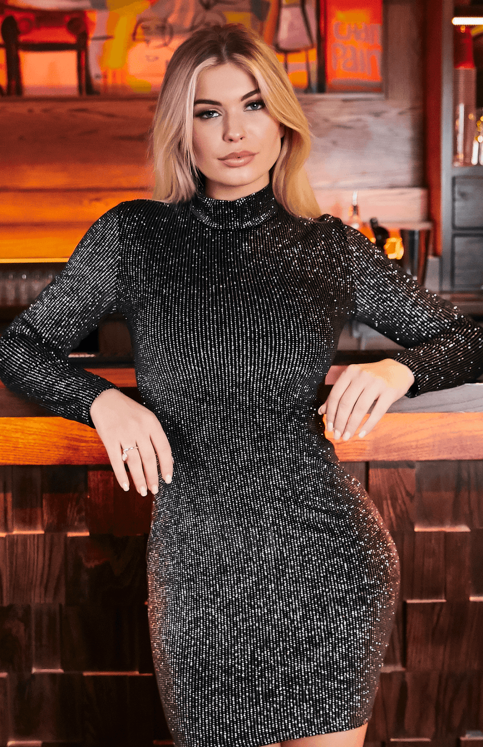 Black Glitter Long Sleeve High Neck Bodycon Dress