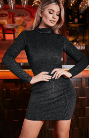 Black Glitter Stripes Long Sleeve High Neck Bodycon Dress