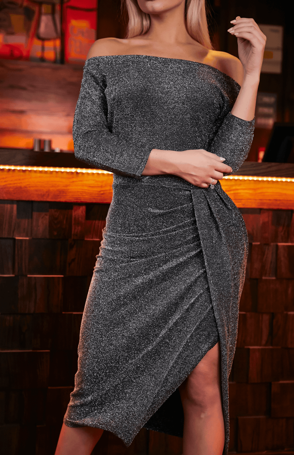 Grey Off Shoulder Glitter Ruched Thigh Slit Party Dress
