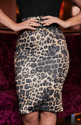 Black High Neck Contrast Leopard Print Dress