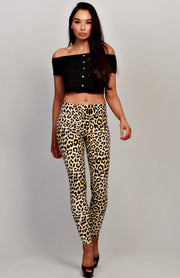 Leggings con estampado de leopardo de PU